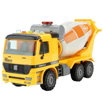 Yellow Lorry Cement Mixer Truck Engineering Vehicle Car With Lights Music for Kids Children Gift Early Education Play Toys Kereta Mainan 仿真惯性工程车 开拓先锋玩具车