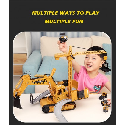 Yellow Crane Construction Truck Engineering Vehicle With Lights Music For Kids Children Gift Early Education Play Toys Kereta Mainan 大号挖掘机玩具合金吊车挖土机工程车套装轨道收纳模型